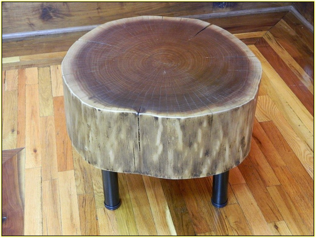 tree trunk side table contribute immense natural accent homesfeed simple wood log with metal legs rustic farmhouse and chairs high end tables antique tall long farm white entryway