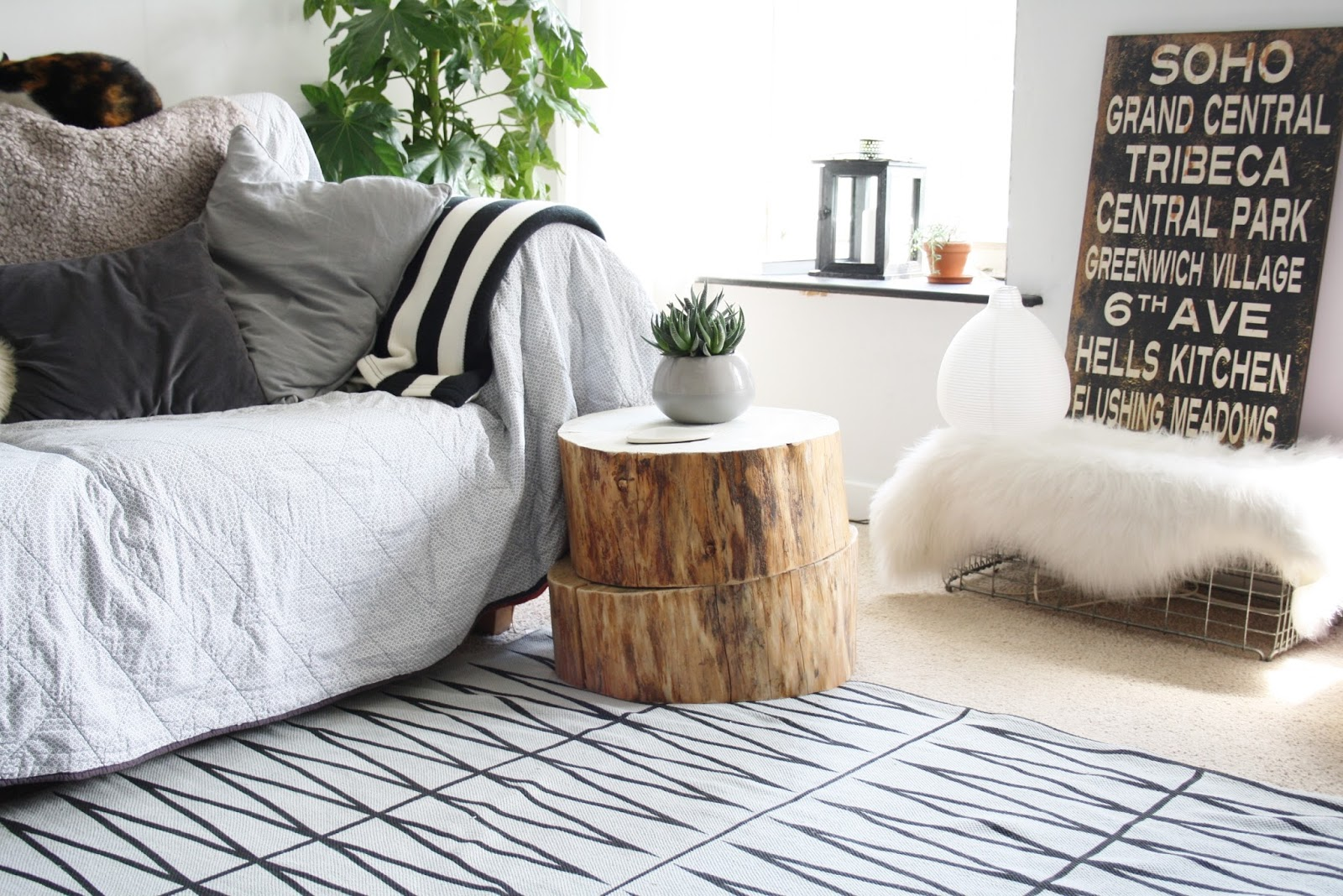 tree trunk side table contribute immense natural accent homesfeed two piles wood stump tone color small white porcelain pot for decorative plant modern patterns rug floors cozy