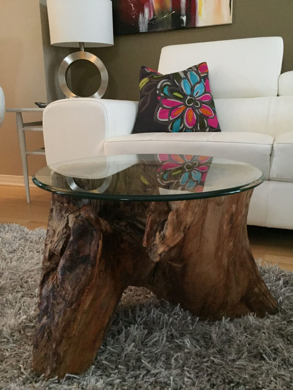 tree trunk table base stump wood log coffee bamboo side round accent large size tables ashley furniture piece set grey wicker black bathroom caddy telescope distressed white