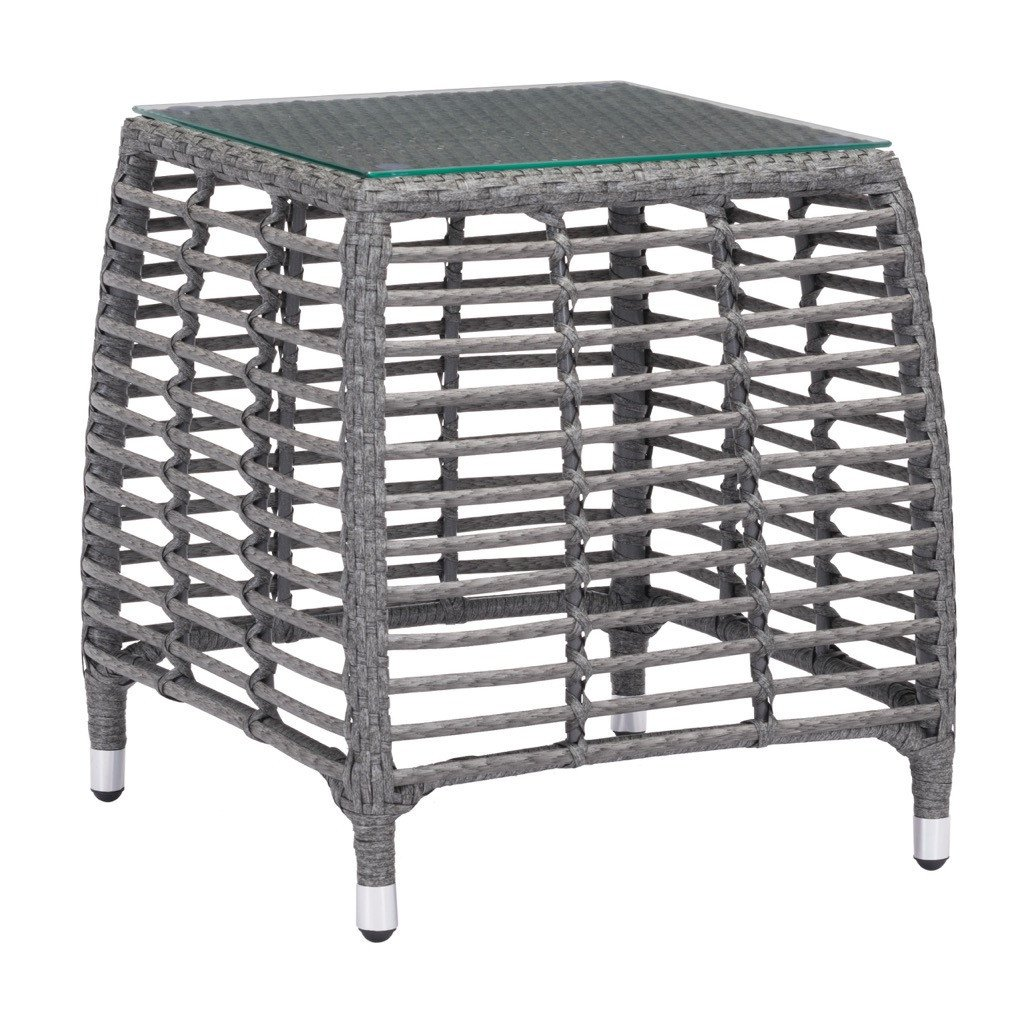 trek beach outdoor side table gray synthetic weave with tempered glass top end tables alan decor breakfast bar and stools pretty storage boxes ikea black white modern coffee