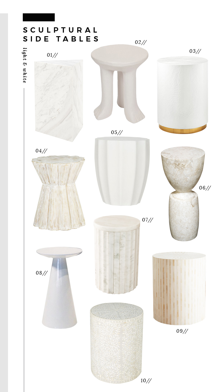 trend alert sculptural side tables room for tuesday img white ceramic accent table marble savannah hammered annie vassan architect next furniture nest metal cabinet legs deck