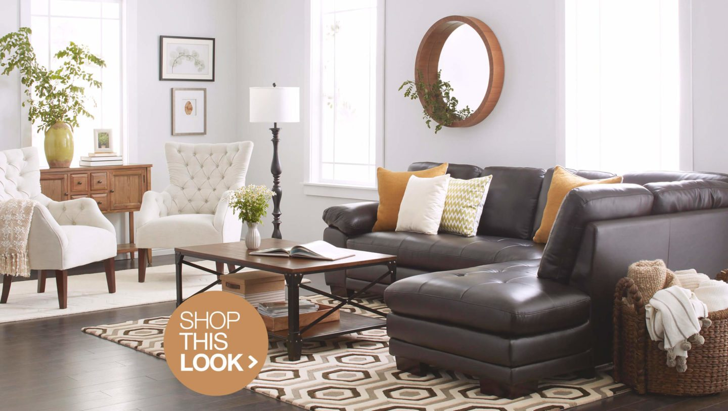 trendy living room decor ideas try home hero essentials white accent table contemporary with brown leather sofa west elm tripod floor lamp ikea lounge small console media wagon