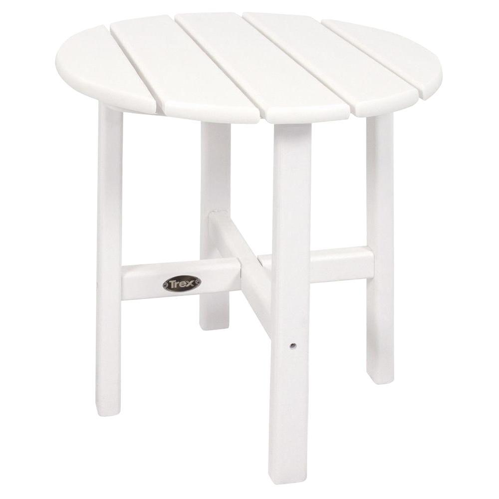 trex outdoor furniture cape cod classic white round plastic side tables garden patio accent table cast aluminum end ott sofa nite stands grooming nightstand wine rack with glass