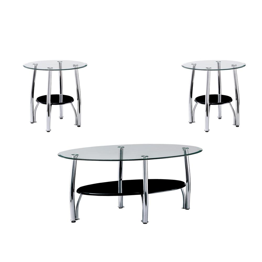 triangle coffee tables accent the chrome furniture america idf carmen metal table lysander black tempered glass piece set round kitchen and chairs large floor mirror entryway