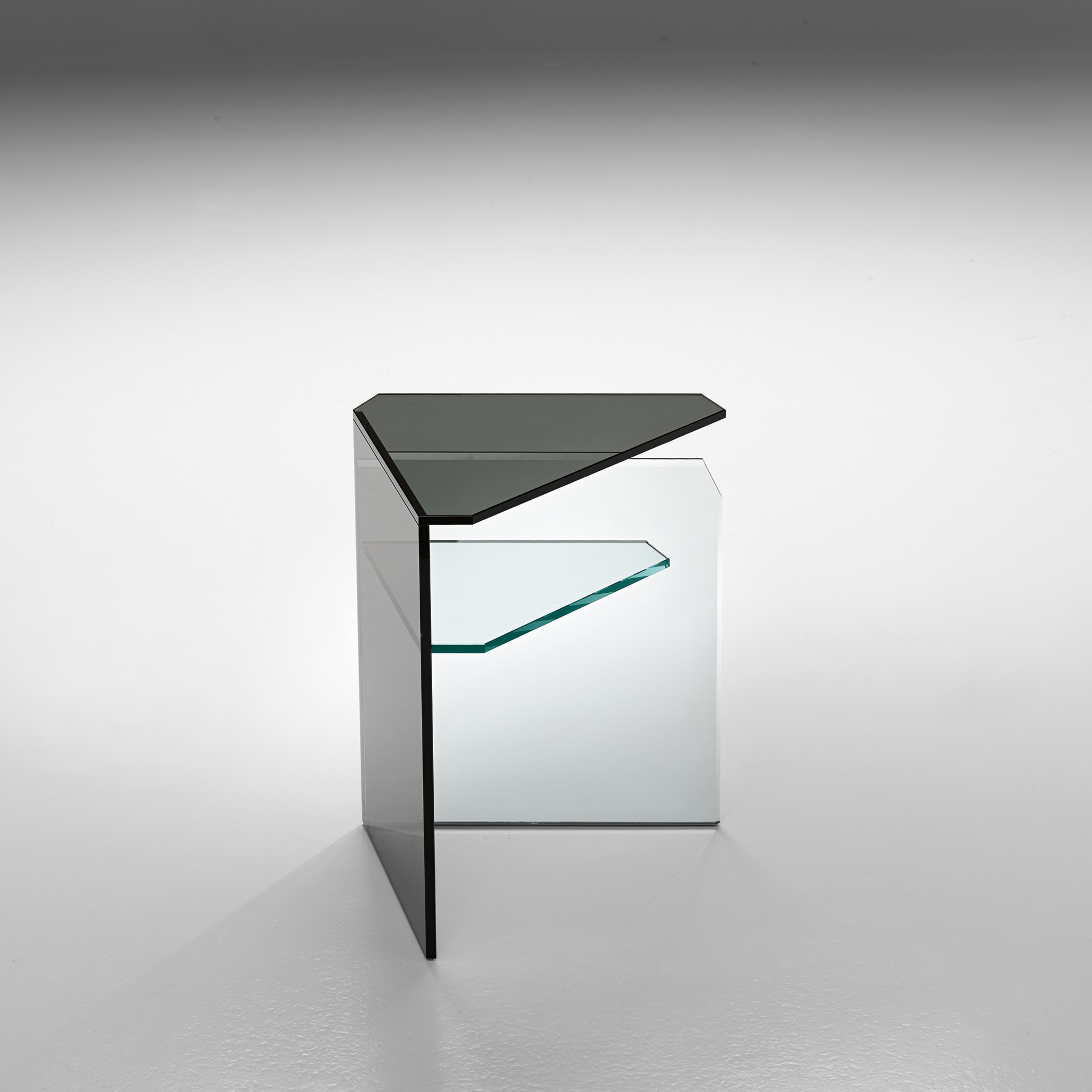 triangle glass corner accent table with shelf unique mirrored built closet organizer bathroom shower rack low long white acrylic plastic sheets wrought iron plant stand desk shape