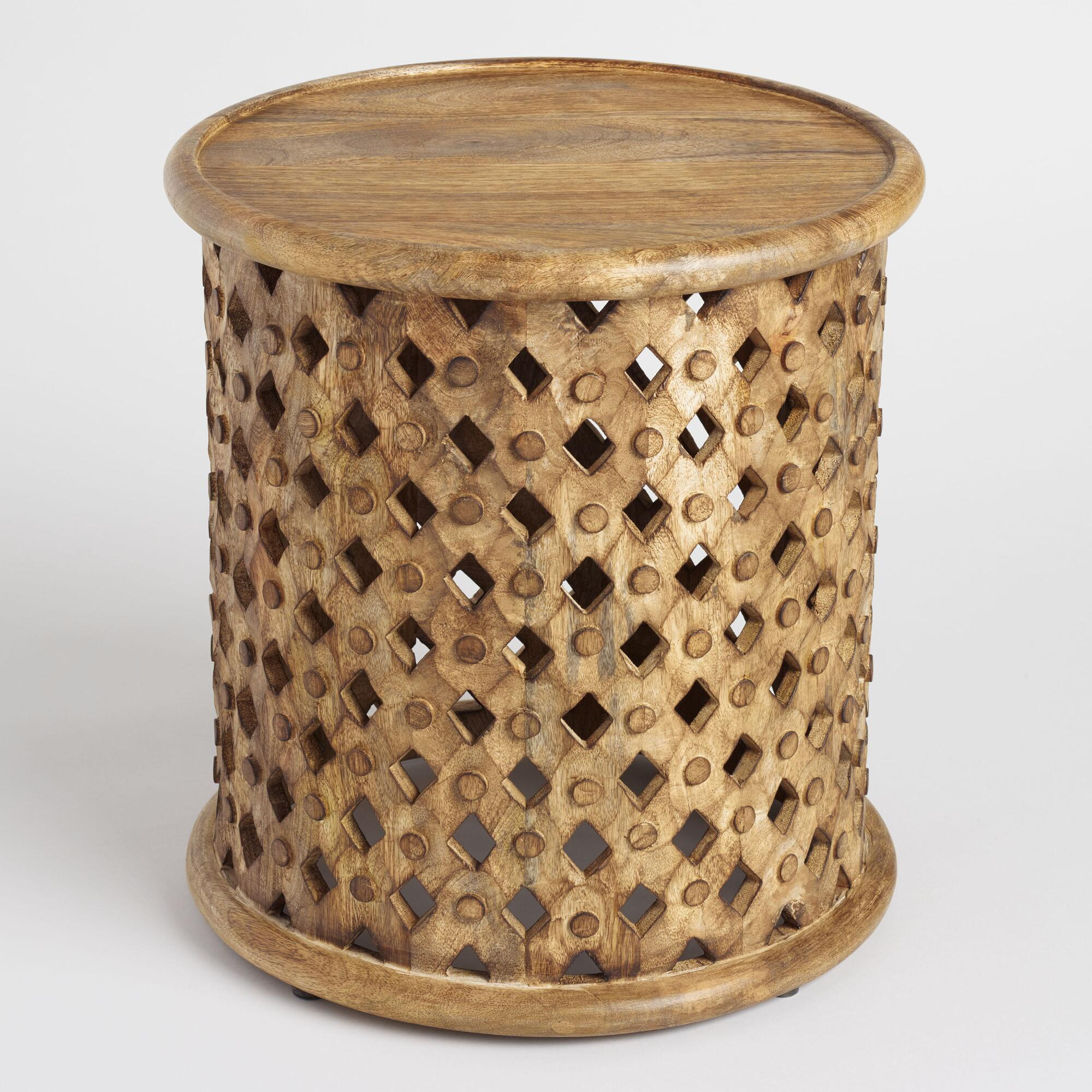 tribal carved wood accent table world market iipsrv fcgi with baskets cherry dining room furniture tier antique bar cabinet pier one catalog narrow depth console inch affordable