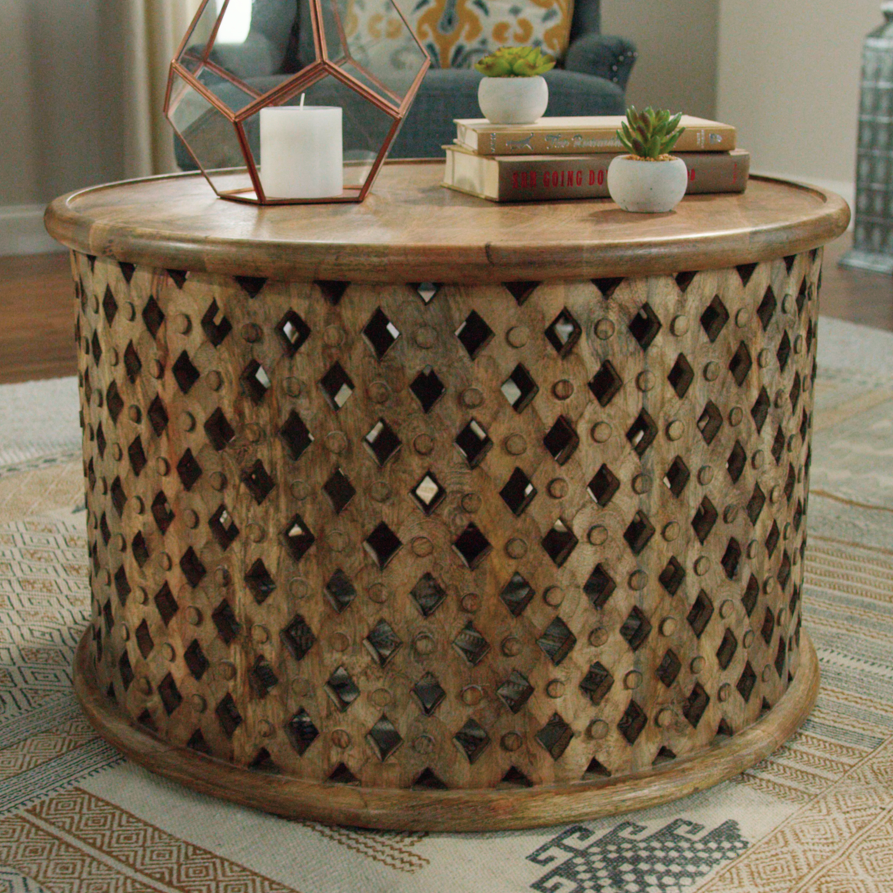 tribal carved wood accent table world market tables mid century modern dining deck furniture set silver area rug trestle agate tall thin door bars for laminate flooring small side