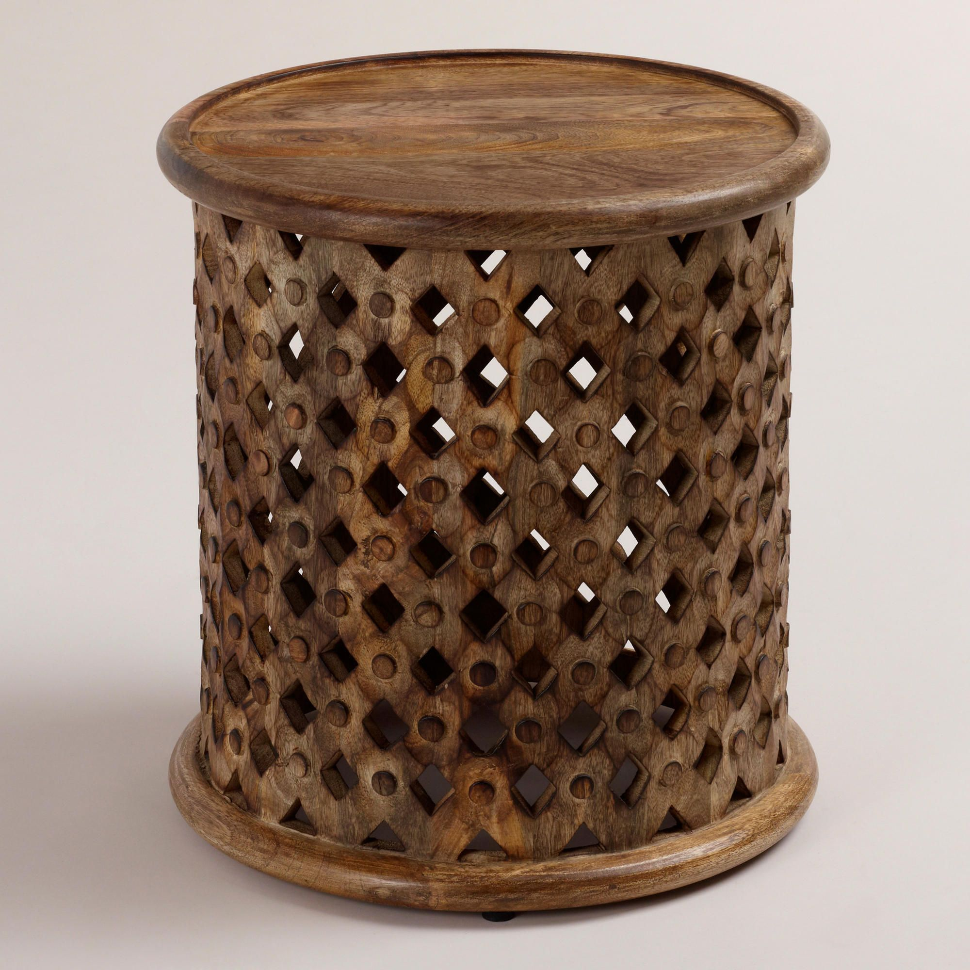 tribal carved wood accent table world market this would cylinder drum look great bedroom next the chair usb lamp bedside lights green lamps colorful sofa oak black marble top end