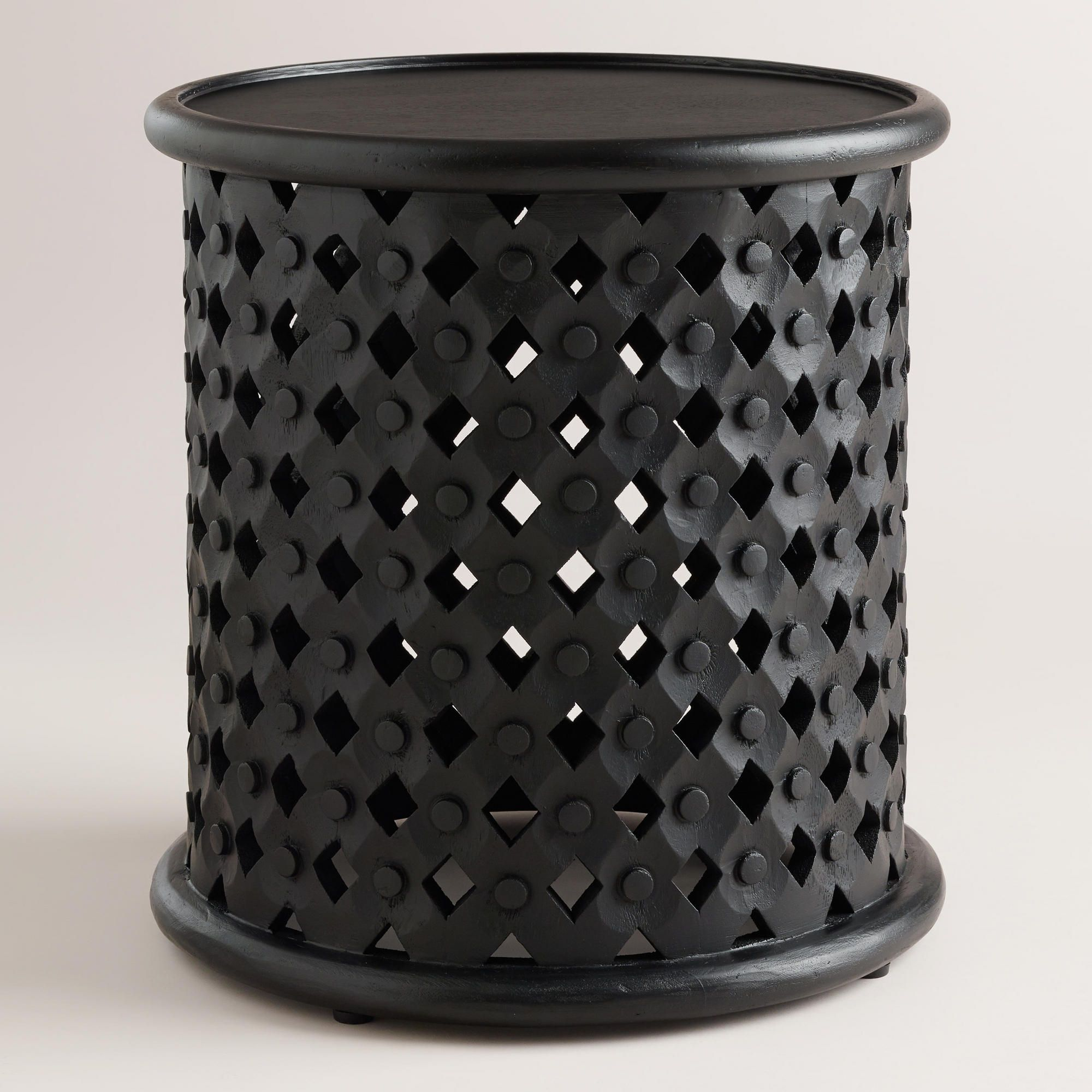 tribal carved wood accent table world market this would manila cylinder drum brass discover ideas about sunroom potting battery operated dining lamps patio furniture clearance