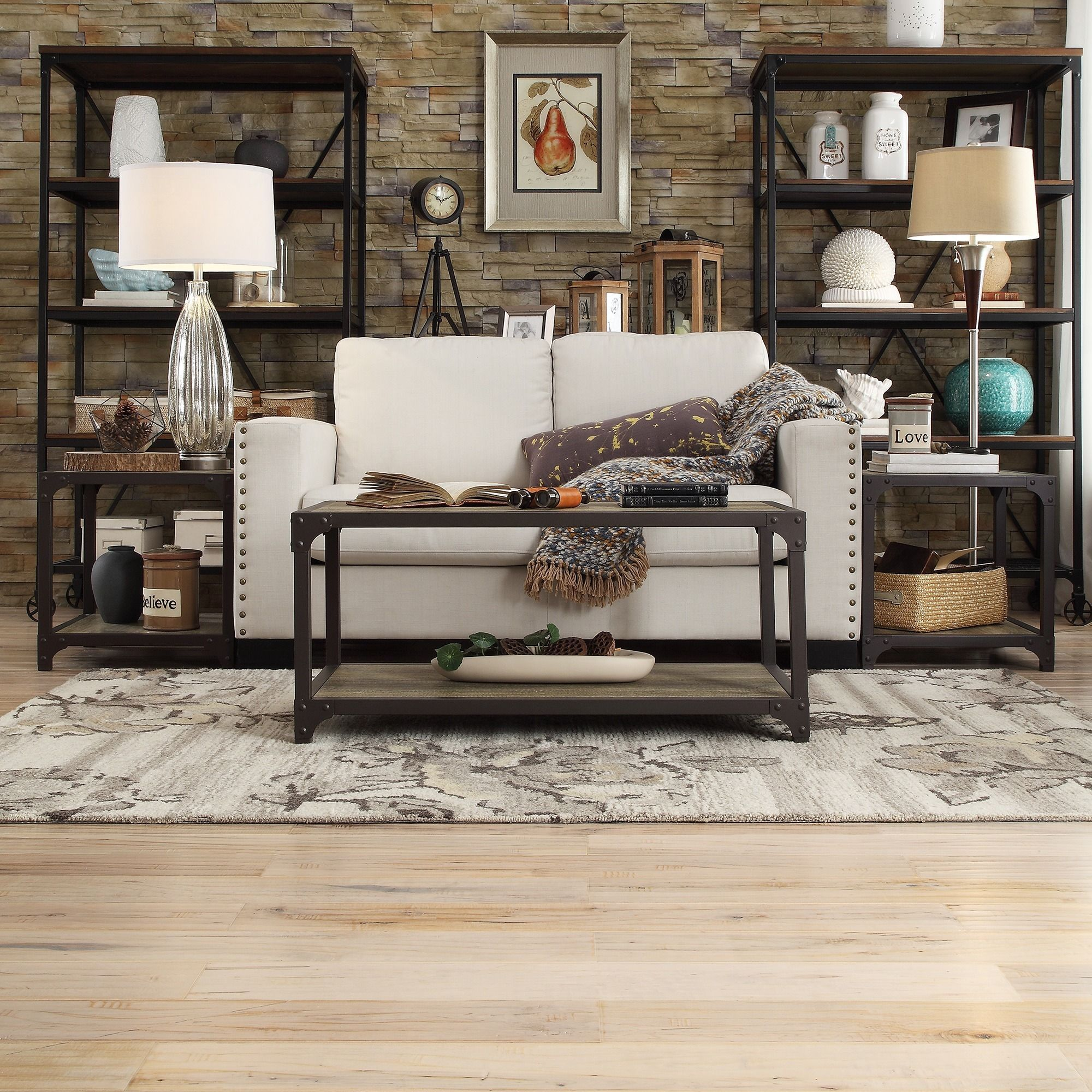 tribecca home sadie piece industrial rustic occasional accent living room table sets set brown round mosaic patio wooden coffee plans with basket drawers mango wood three tables