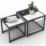 tribesigns nesting coffee tables set square side living room accent table sets end for with sturdy metal frame black and white home office furniture edmonton kroger outdoor round 150x150