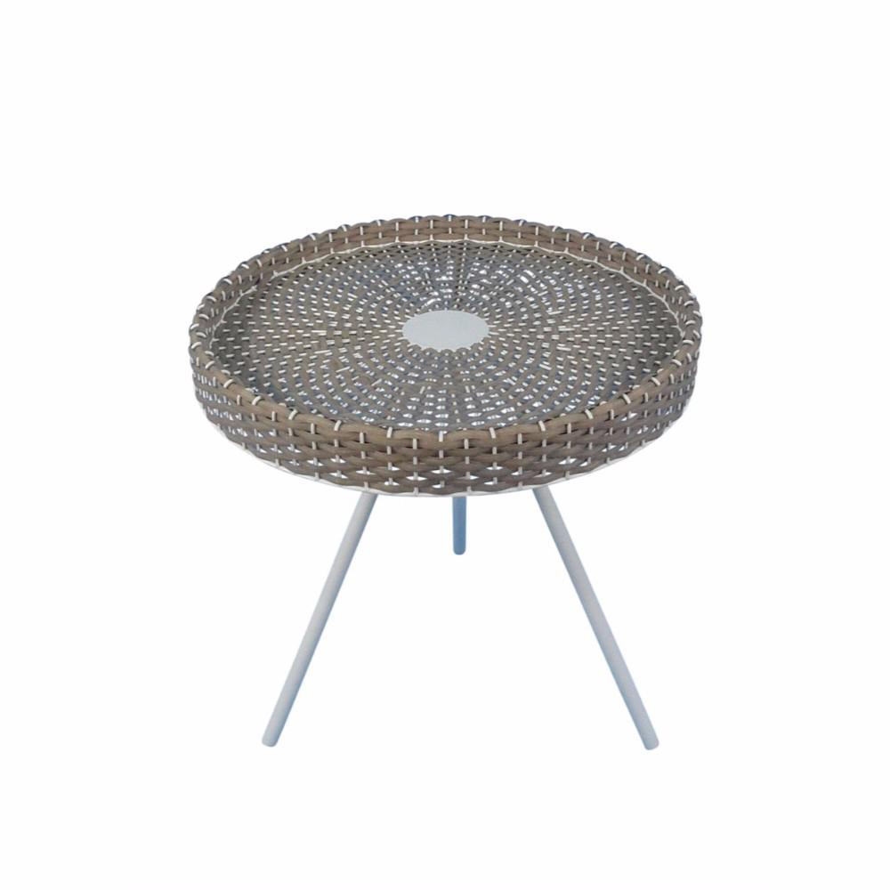 tripod accent table with round woven top white and brown metal antique square pipe diy patio cooler ashley furniture coffee end tables living room chest farm door nautical ship