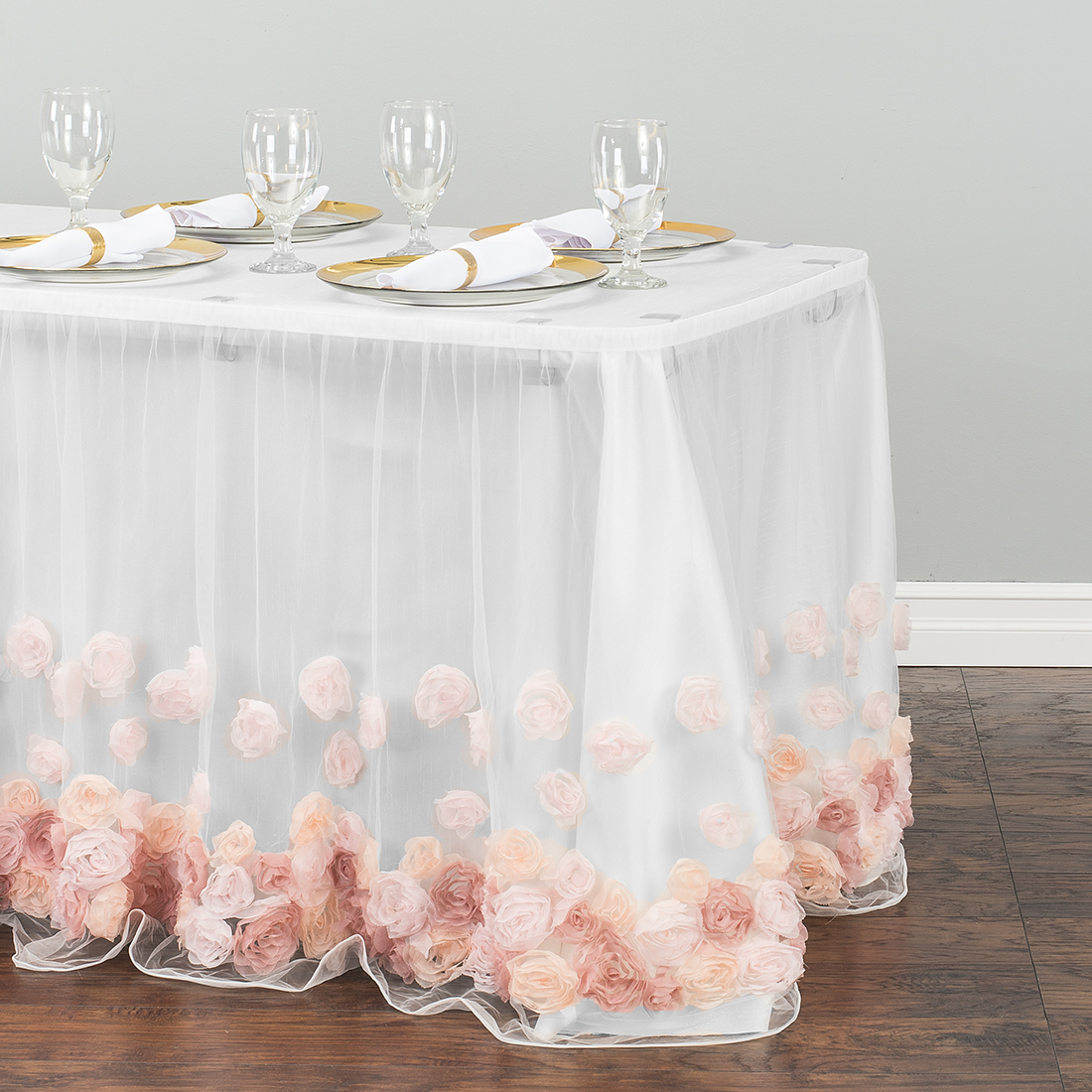tulle rose table skirt blush pink round accent skirts verizon android tablet teak patio furniture outdoor serving cart light lamp white acrylic side mosaic tile dale tiffany