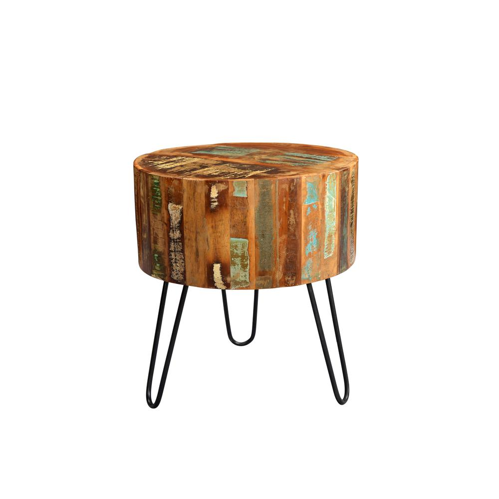 tulsa multi colored reclaimed wood round end table with hairpin legs tables bronze accent coffee bar height dining room sets crystal lights for living unusual furniture wrought