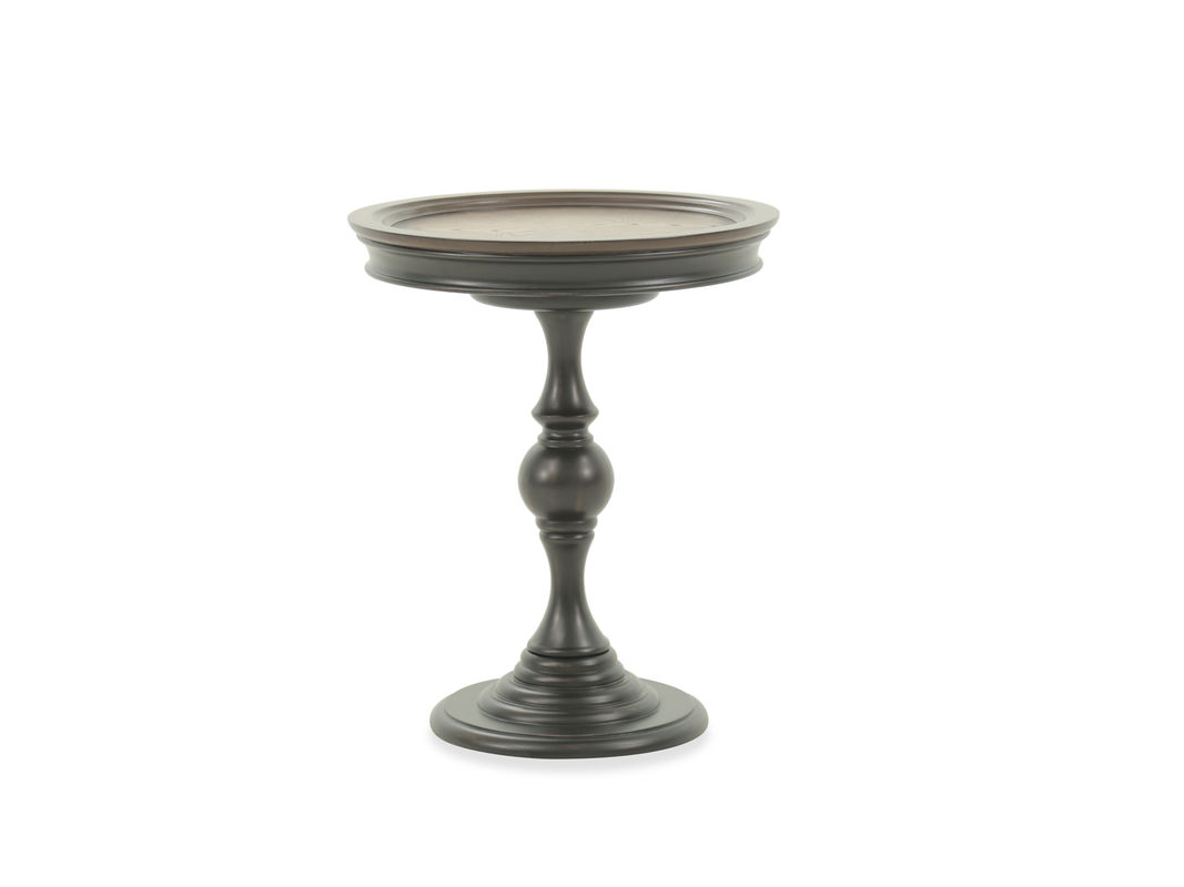 turned pedestal transitional accent table dark brown mathis pul finished enigmatic finish its exquisitely carved framework this style crafted with fancy veneer top and white resin