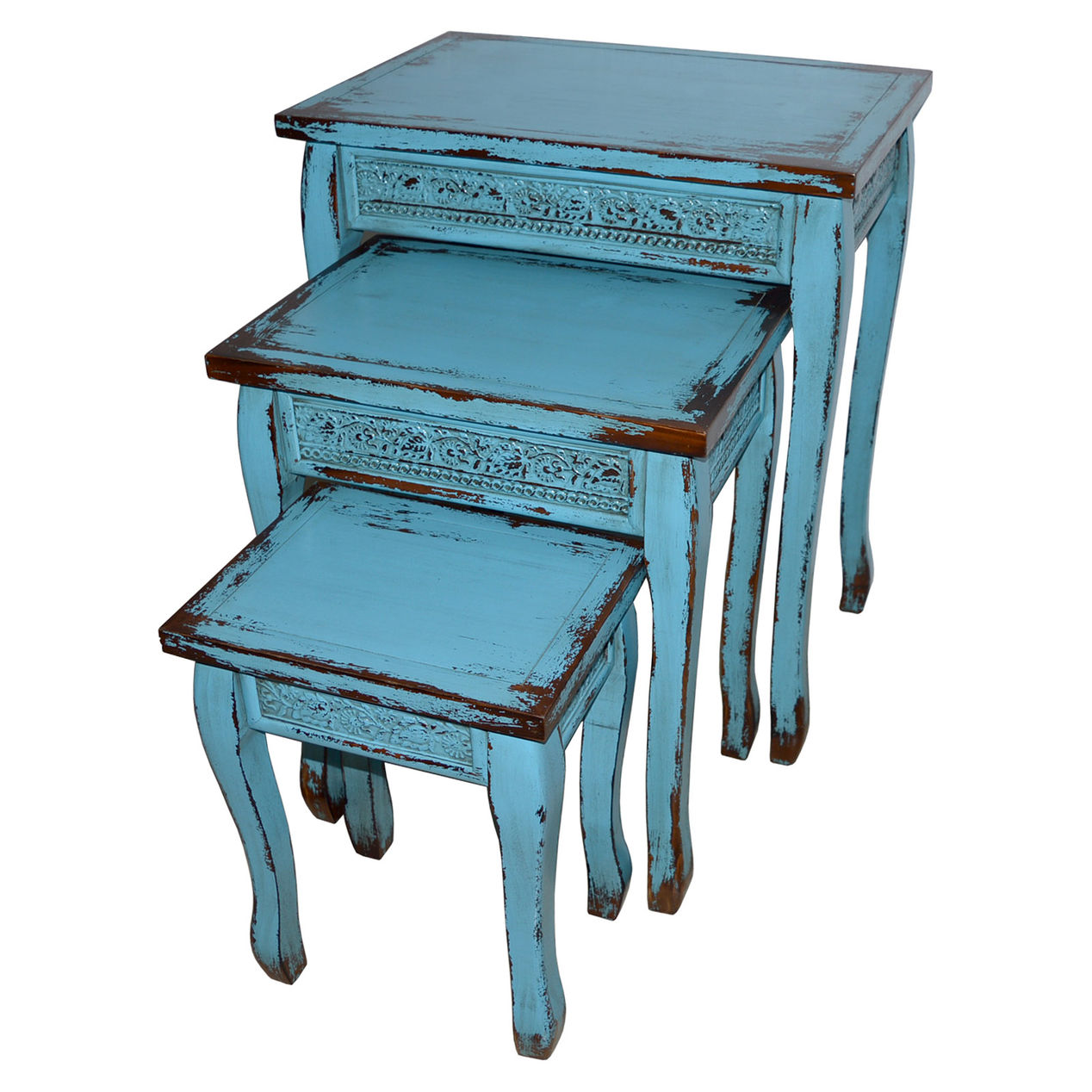 turquoise blue wooden distressed side accent table large home oil rubbed bronze piece nesting set rustic coffee with storage patio end tables tray reclaimed wood white lamp base