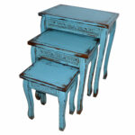 turquoise blue wooden distressed side accent table small home pier one dining and chairs west elm floating shelves gold accessories round console with sliding barn doors modern 150x150