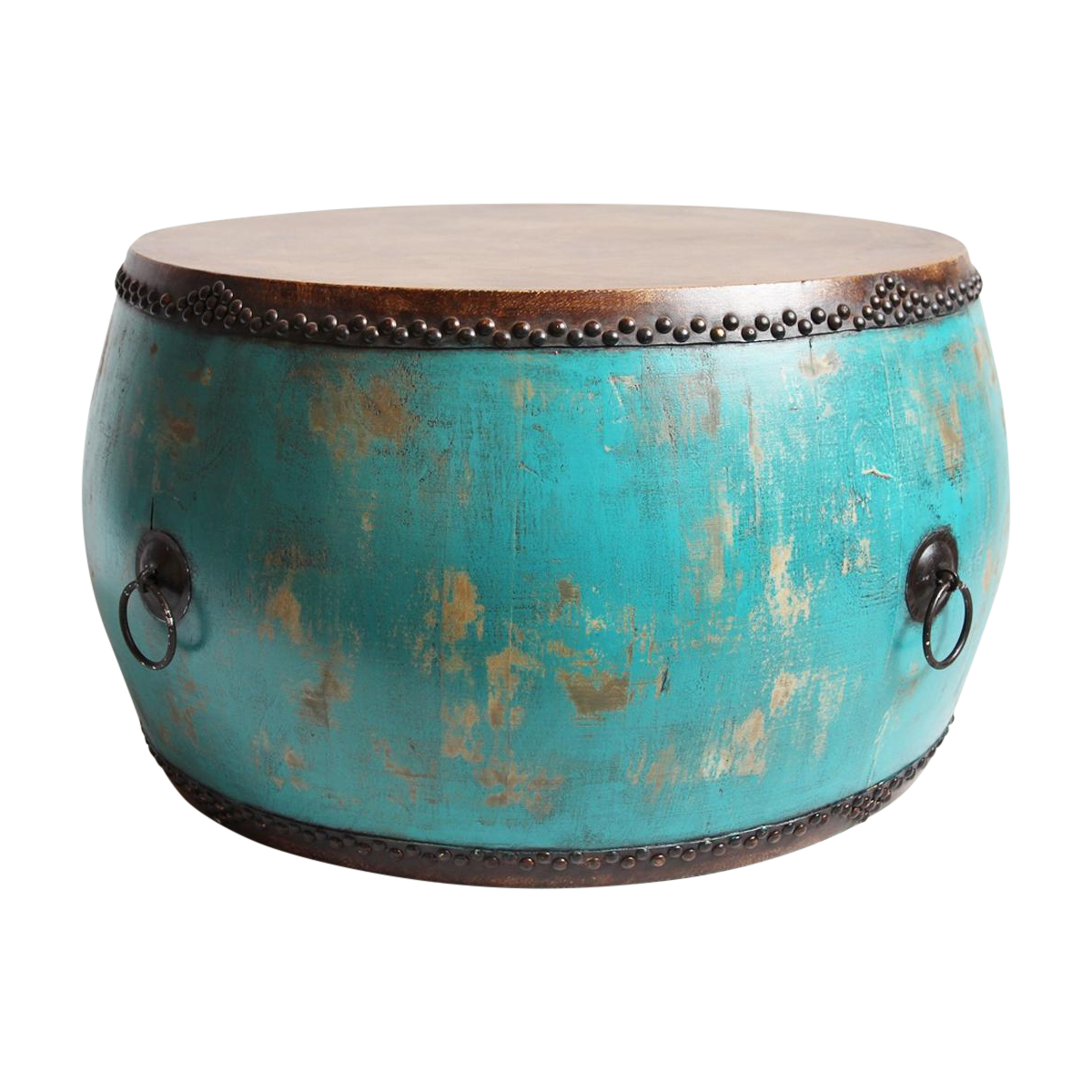 turquoise drum coffee table chairish tibetan accent basement furniture glass top side bath filler whitewash black living room tables dog tub modern reproductions threshold gold