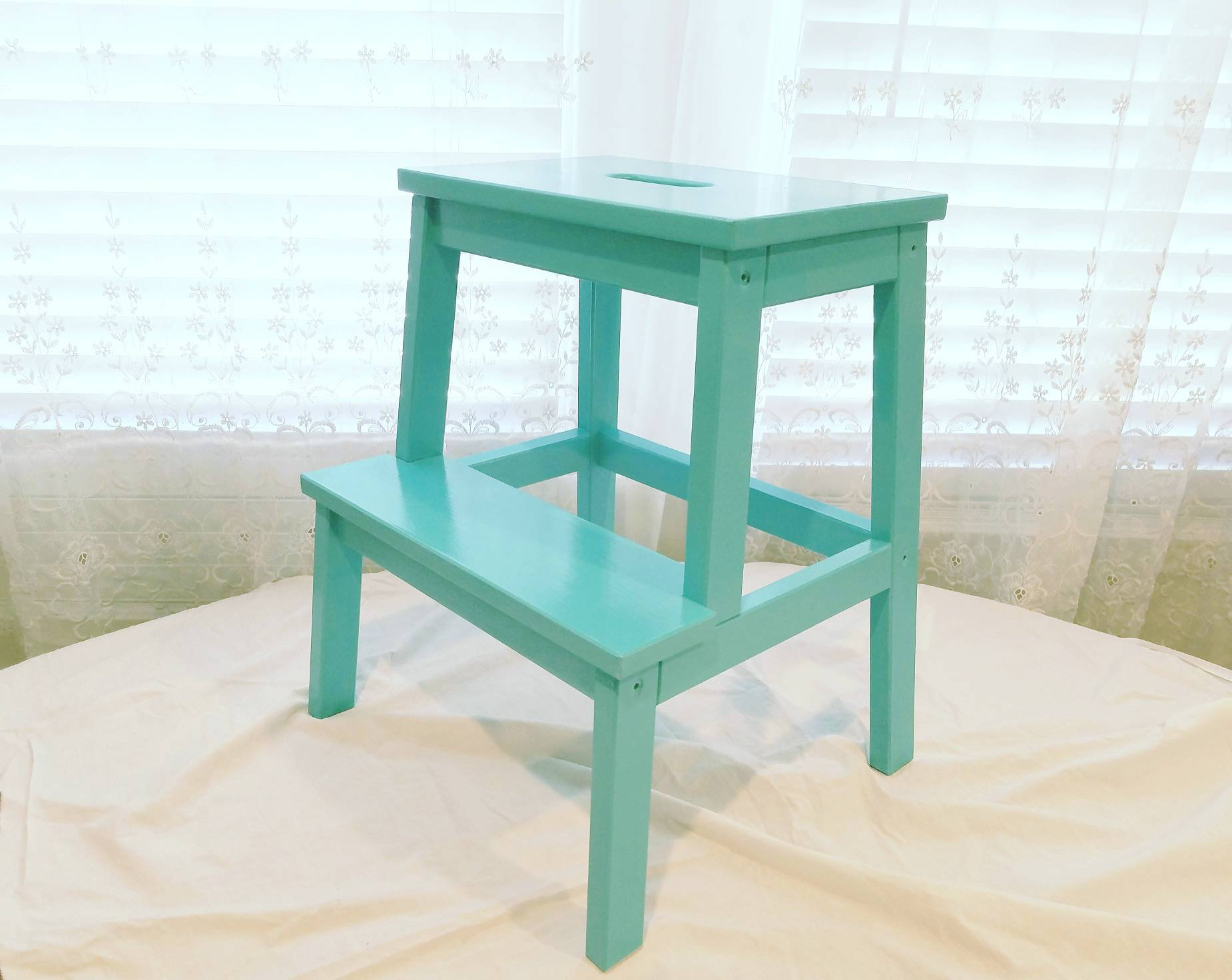 turquoise hand painted step stool ladder accent table etsy fullxfull metal painting laminate cabinets unique patio umbrellas mirror with drawers barn door window shutters coffee