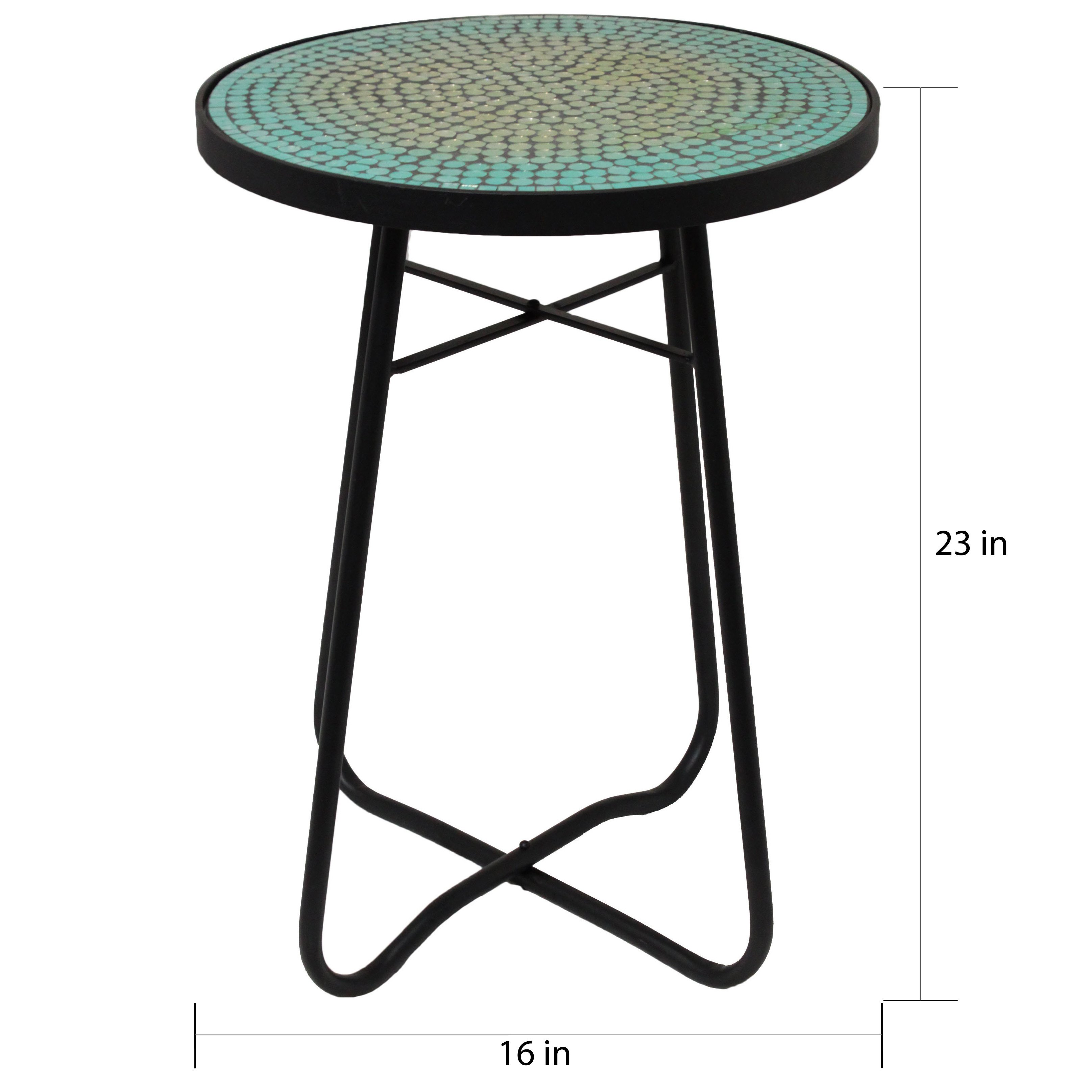 turquoise mosaic round patio side accent table free shipping today metal dining chairs target triangle shaped corner iron ikea plastic storage boxes trestle pine funky lamps small