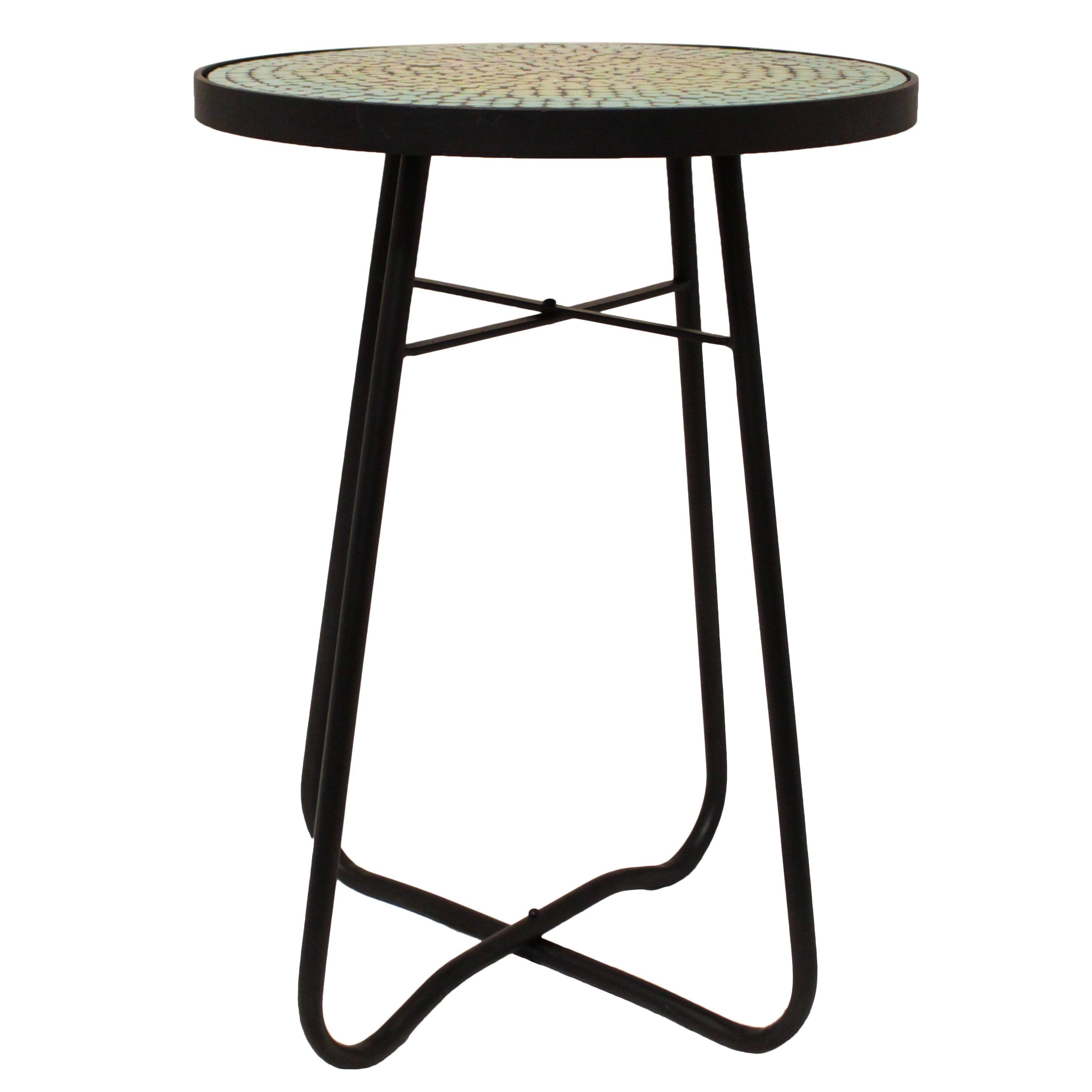 turquoise mosaic round patio side accent table free shipping today outdoor cooking dining room runners kitchen diner oval marble retro style chairs wicker chair designer lamp