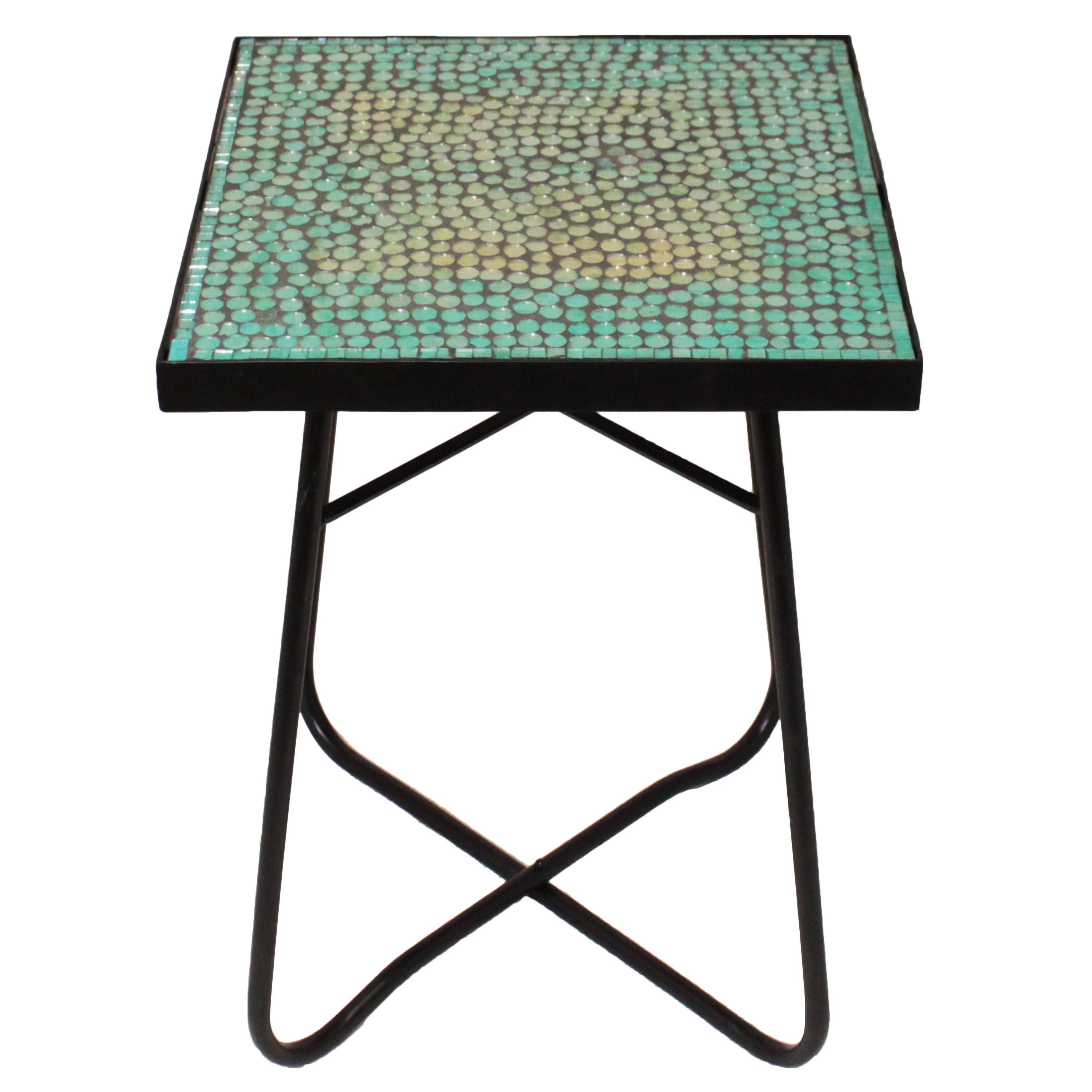 turquoise mosaic square patio side accent table free shipping outdoor tables today pottery barn dishes whole round tablecloths mainstays marble metal trestle collapsible coffee