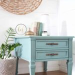 turquoise painted side table country chic paint guest post wishing well teal blue cait miller mint green accent diy shabby living room patio sofa set clearance wine racks for home 150x150