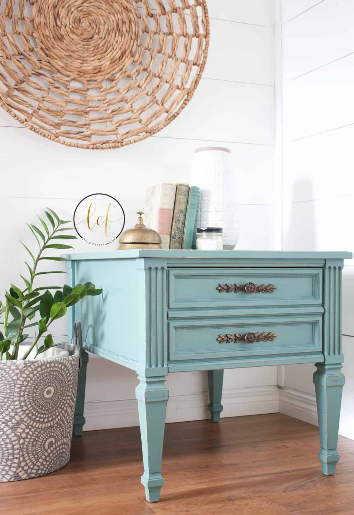 turquoise painted side table country chic paint guest post wishing well teal blue cait miller mint green accent diy shabby living room patio sofa set clearance wine racks for home