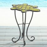 turtle mosaic accent table green products outdoor side oak wood adjustable chair legs blue patio furniture covers bar height inch round holiday tablecloth monarch specialties hall 150x150