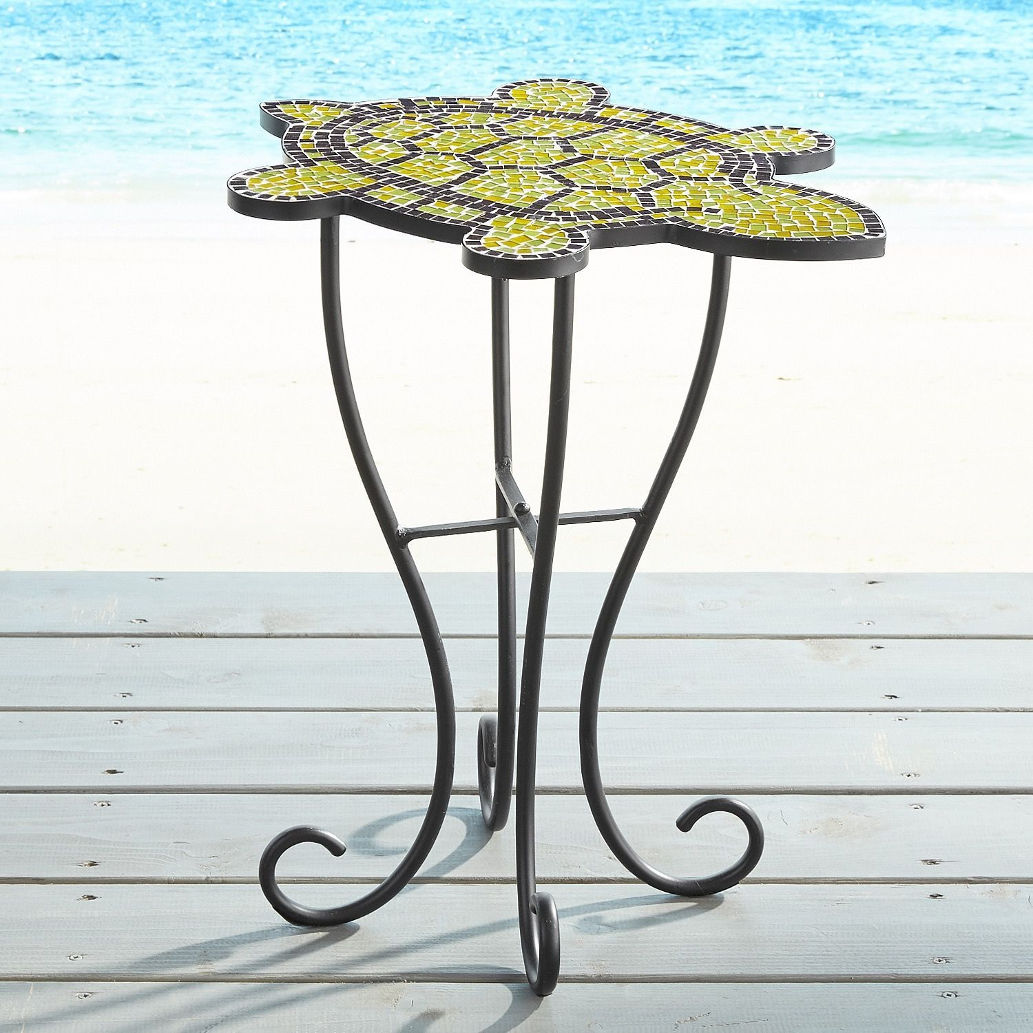 turtle mosaic accent table green products outdoor side oak wood adjustable chair legs blue patio furniture covers bar height inch round holiday tablecloth monarch specialties hall