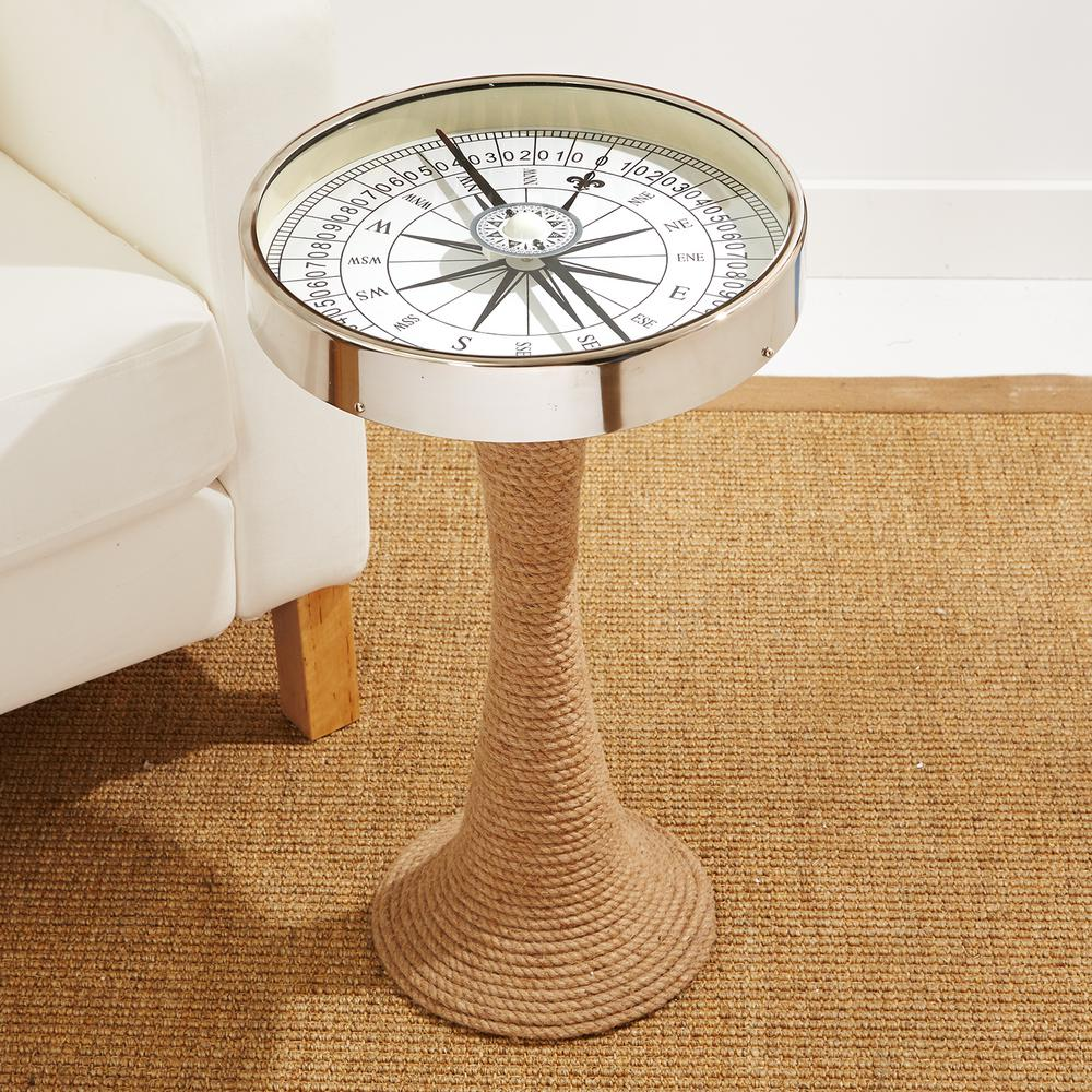 two company working compass accent decorative table with rope base brown tan end tables nautical lamps plus target side drawer dining room light fixture wood and wrought iron slim