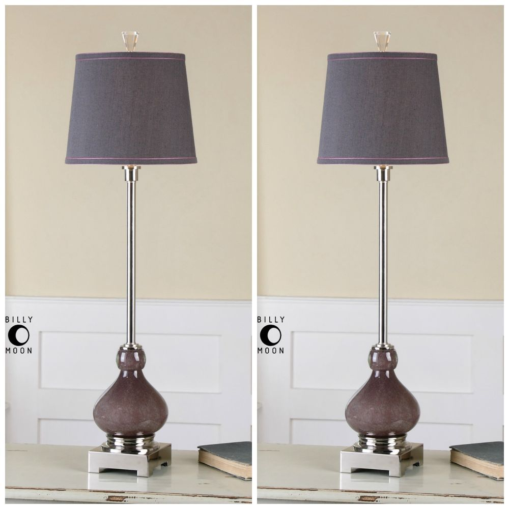 two seeded purple glass table lamp nickel crystal accents accent french furniture round patio rustic farmhouse coffee spindle legs small wheels antique marble top green bedside