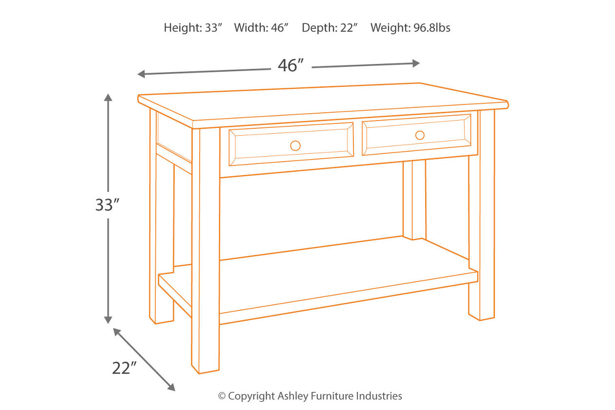 tyler creek sofa console table ashley furniture home dim room essentials accent instructions astoria dining with charging station mirrored lingerie chest pink chandelier lamp