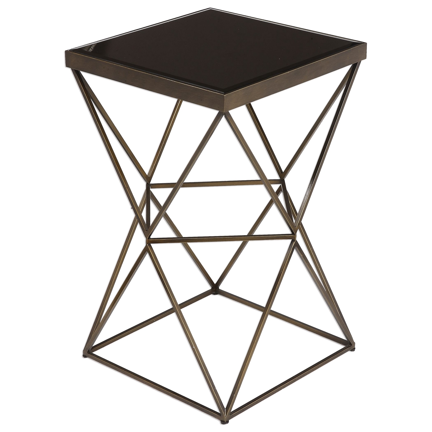 uberto caged frame accent table antique bronze finish steel antiqued with cage and beveled black glass top loading hairpin leg bedside round silver coffee outdoor furniture