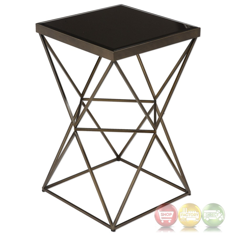 uberto caged frame accent table antique bronze finish steel antiqued with cage and beveled black glass top lucite dining chairs target kids decoration ideas grill side mid century