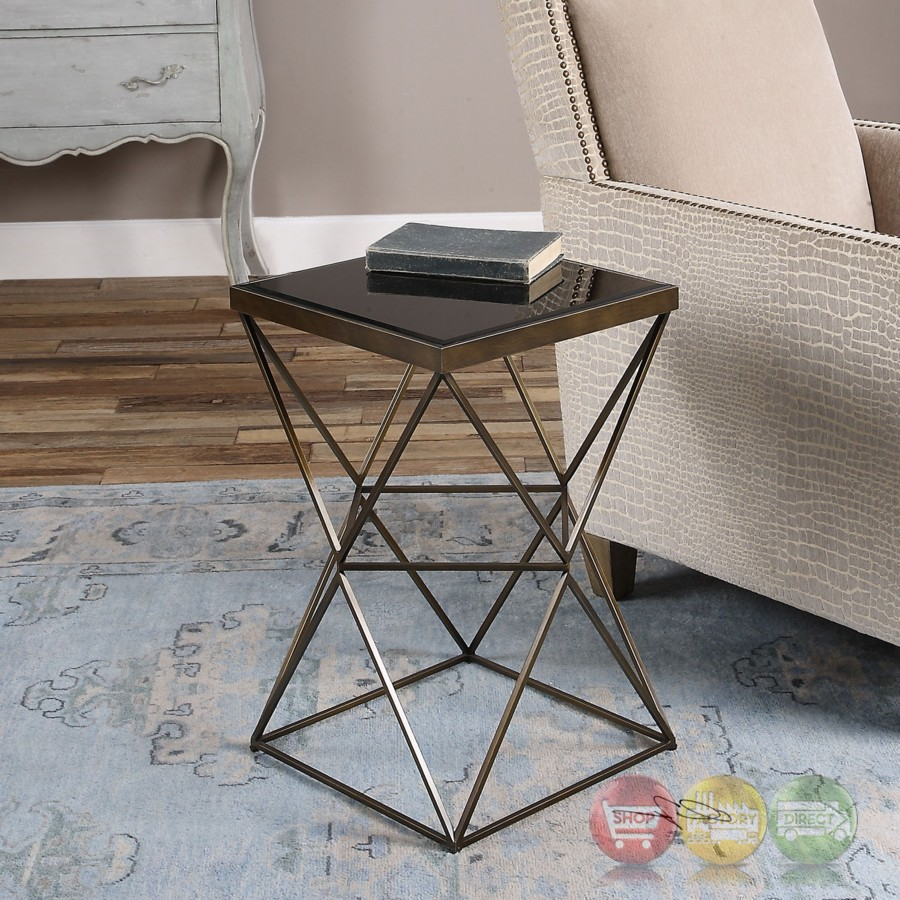 uberto caged frame accent table antique bronze finish steel img outdoor side with umbrella hole wooden plant stand lucite dining chairs white and wood decoration ideas small oak