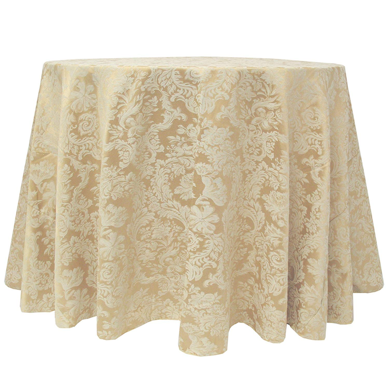 ultimate textile miranda inch round damask tablecloth for accent table fits tables smaller than inches diameter champagne ivory cream home kitchen brown linen ottawa bulk tennis