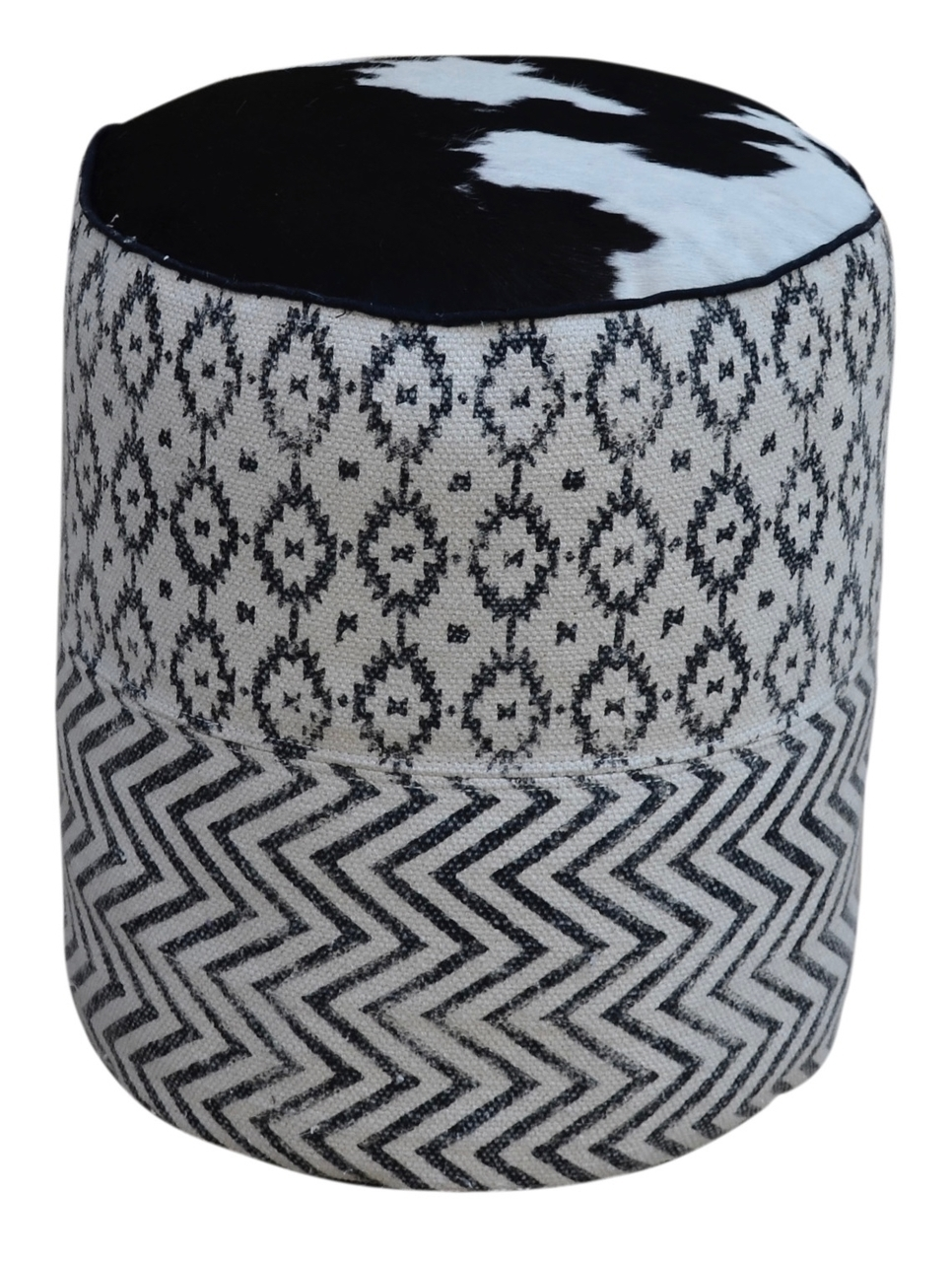 uma black white patterned round pouf with cowhide top accent table cow hide console small inch nightstand mid century modern dining room wide end vintage marble coffee dark