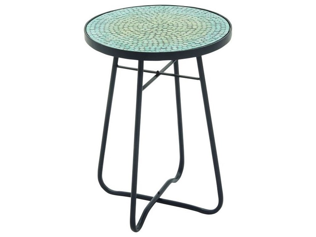 uma enterprises inc accent furniture metal glass round turquoise products color threshold mosaic table furnituremetal contemporary coffee tables and end set three nesting windham
