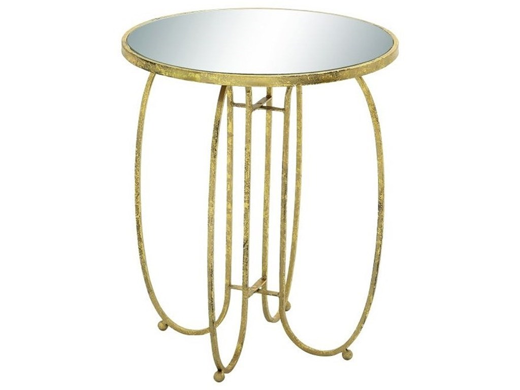 uma enterprises inc accent furniture metal mirror table products color tables with matching mirrors furnituremetal semi circle coffee tile top ashley black piece set studded