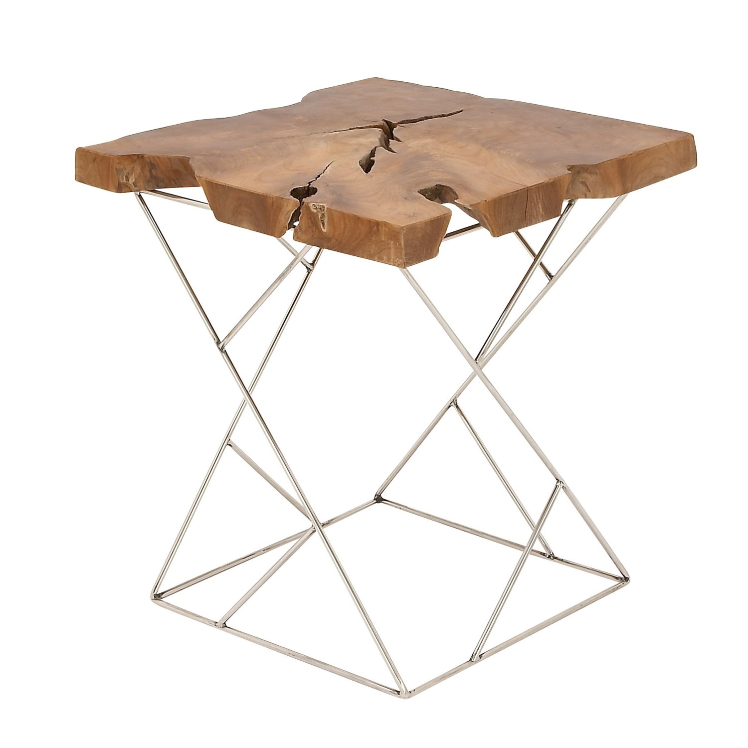 uma teak and metal accent table save natural silver tap expand entrance console modern gold chandelier tall entryway inch round tablecloth end mid century dining room threshold