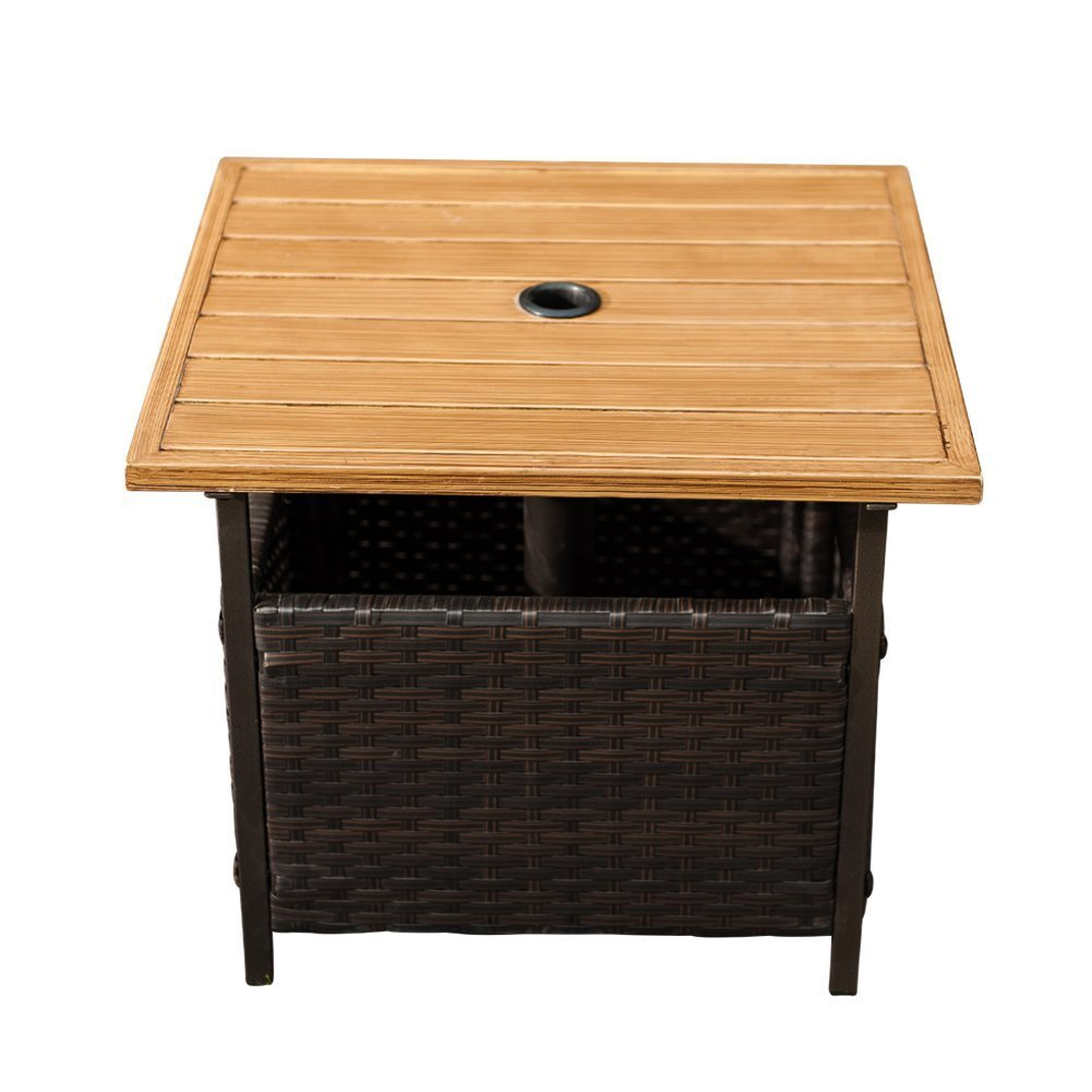 umbrella coffee table find outdoor side hole get quotations wicker stand garden patio tea with rustic round end weatherproof furniture windham accent cabinet drawer deep console