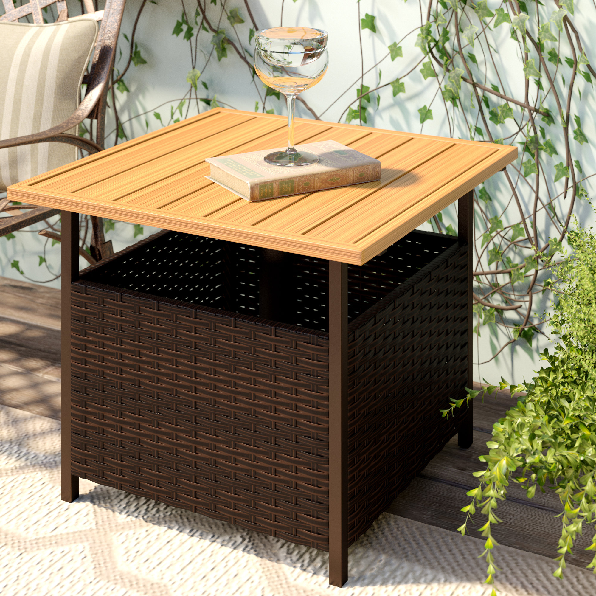 umbrella hole patio side tables you love flatiron wicker table outdoor rustic legs coffee tray target dining room arrangements glass and brass end cast aluminium garden furniture