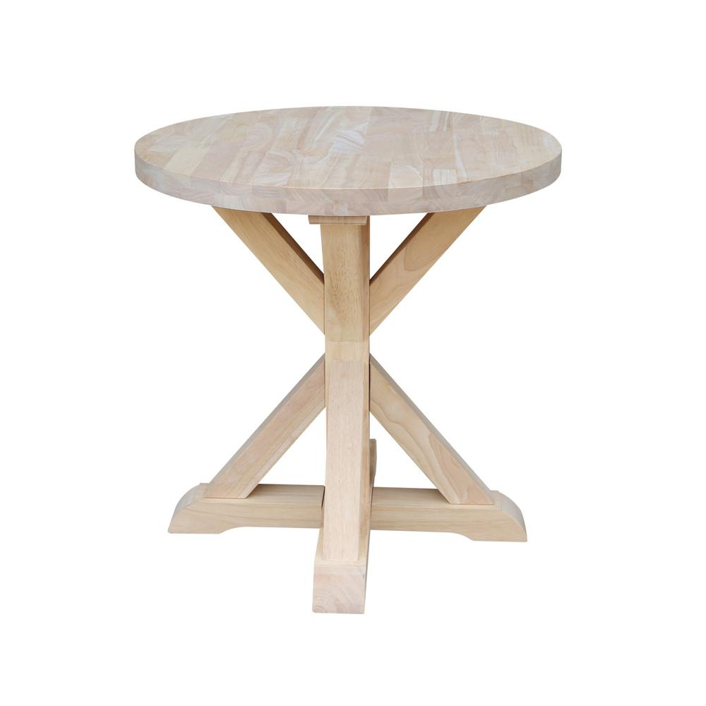 unfinished end tables accent the international concepts modern farmhouse table threshold mango wood half moon with storage outdoor containers john lewis side canadian tire lawn