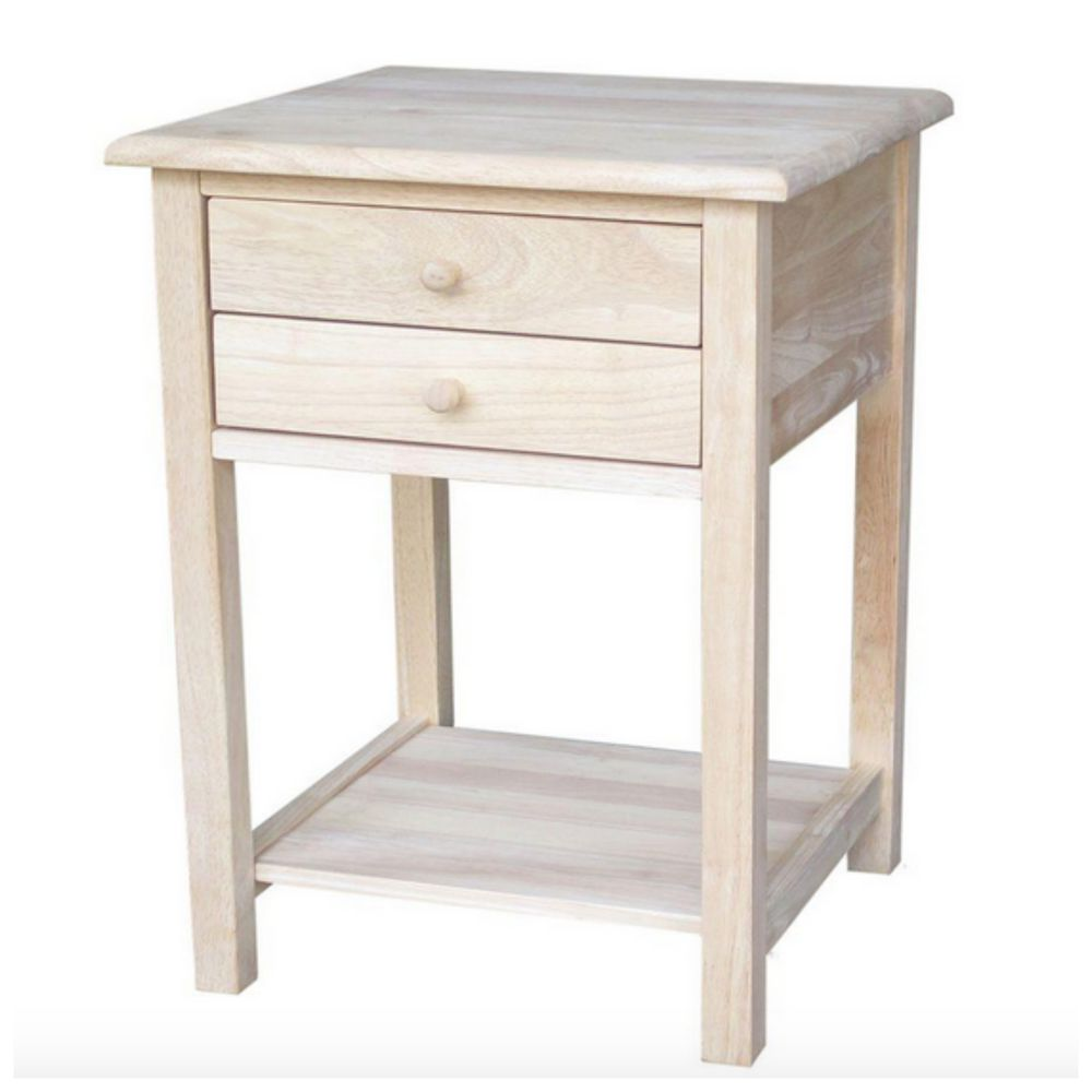 unfinished small side lamp end table night stand wood accent details about furniture drawer piece faux marble coffee set pier imports bedroom diy tripod with usb charger wine