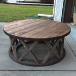 unfinished wood coffee tables accent the custom built round brace farmhouse table end with power strip farm porch chairs black gloss side ice box cooler outdoor garden fabric 150x150