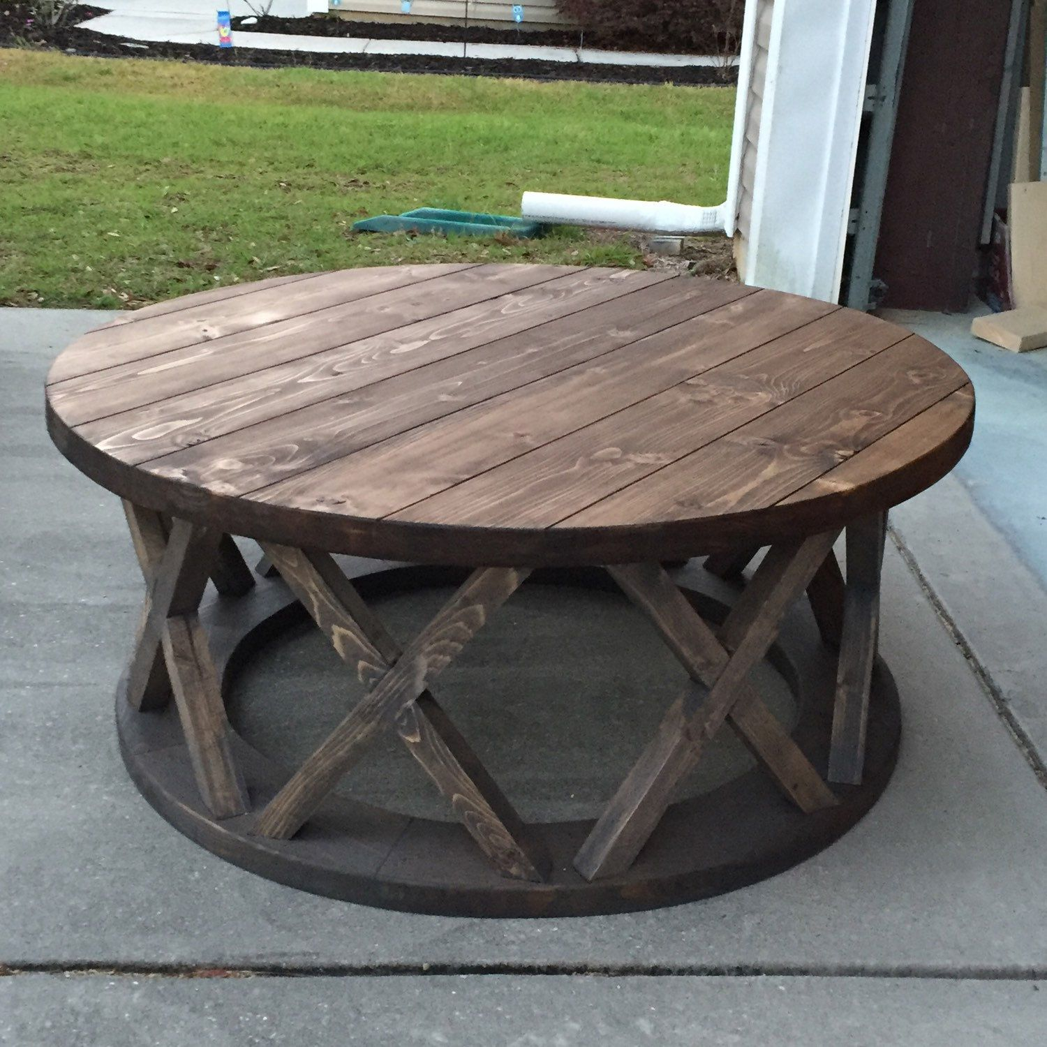 unfinished wood coffee tables accent the custom built round brace farmhouse table end with power strip farm porch chairs black gloss side ice box cooler outdoor garden fabric