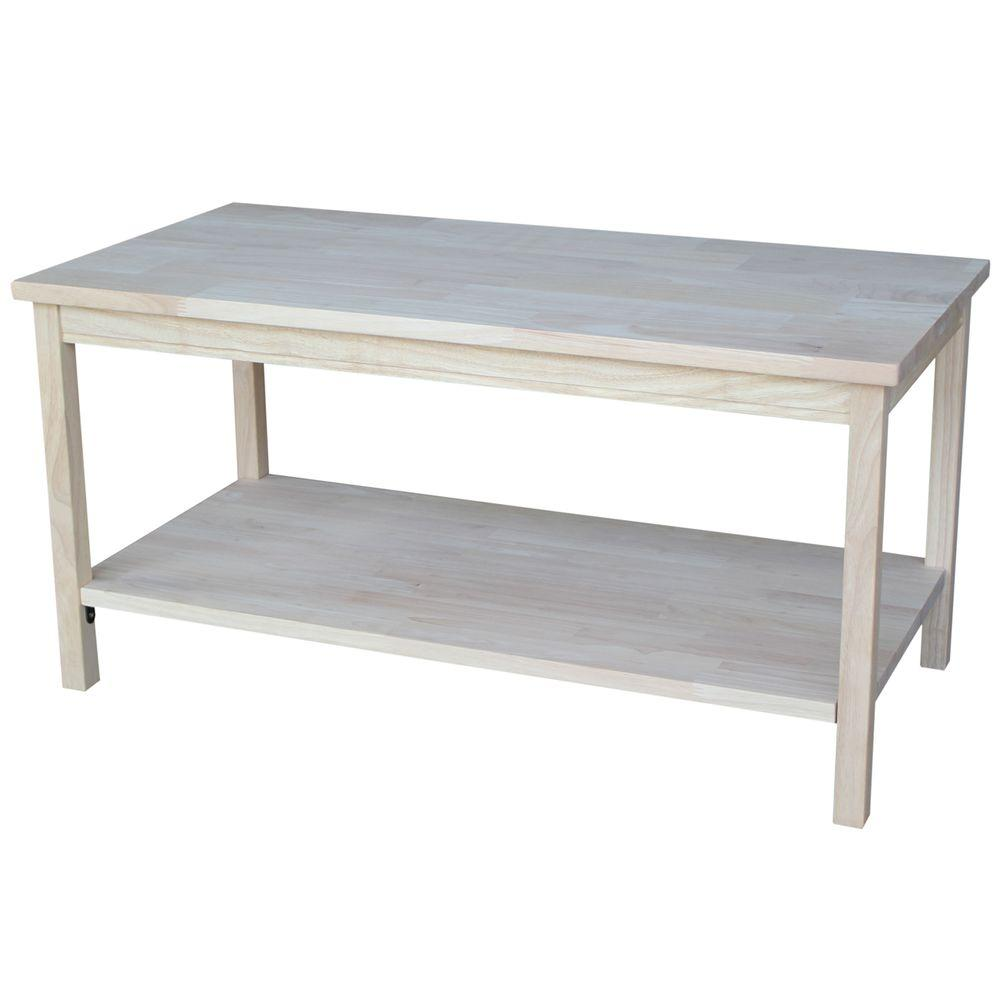 unfinished wood coffee tables accent the international concepts raw table portman small round nightstand folding dining for space white cabinet with glass doors big square trestle