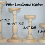 unfinished wood pillar candlestick holders diy wedding accents tall table various sizes accent decor white end set patterned plastic tablecloths target round and chairs pier one 150x150