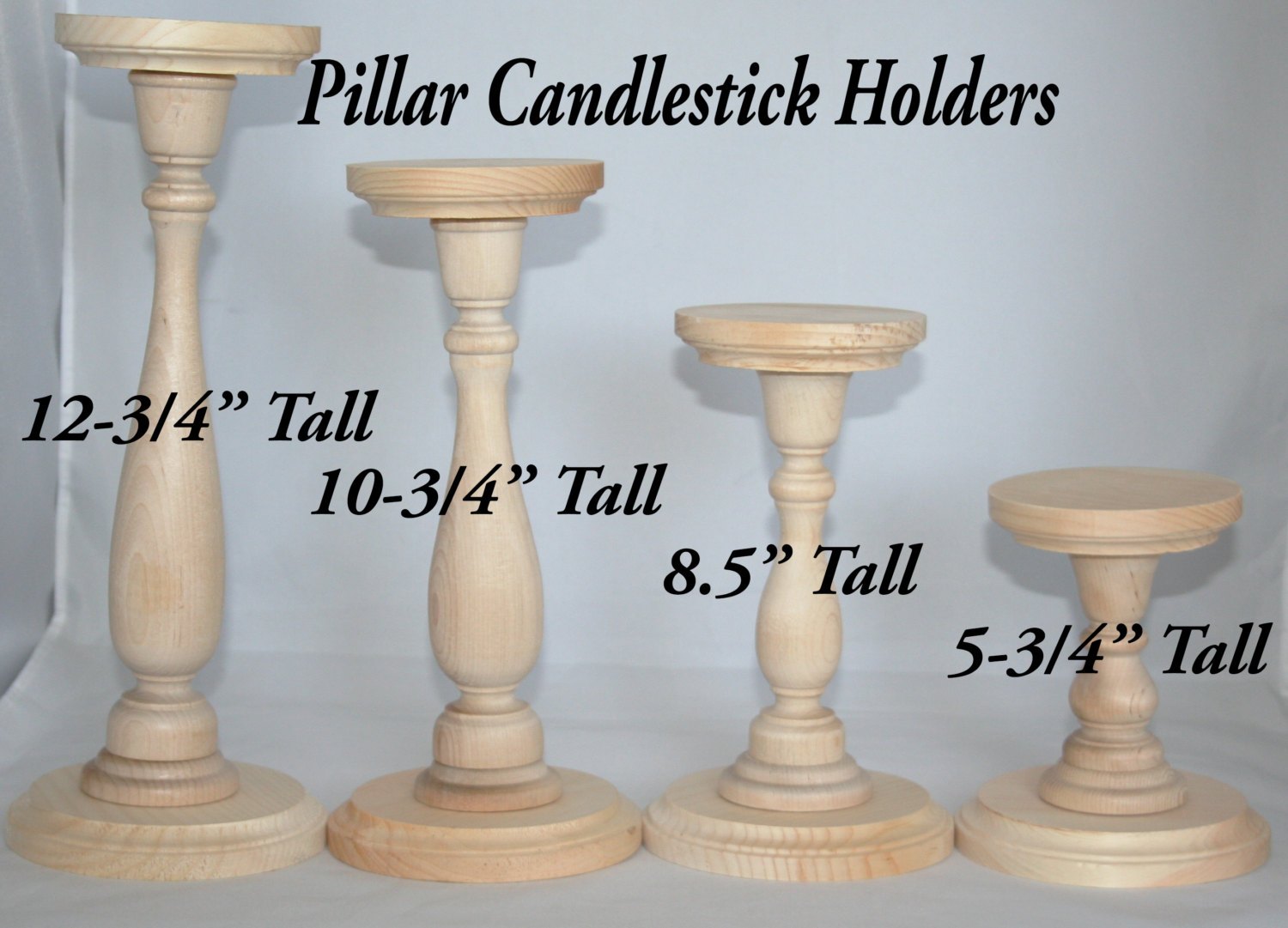 unfinished wood pillar candlestick holders diy wedding accents tall table various sizes accent decor white end set patterned plastic tablecloths target round and chairs pier one